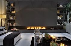 Modern Fireplace and Cozy Interior – Edyta & Co. Linear Fireplace, Modern Fireplace, Fireplace Wall, Fireplace Design, Fireplace Ideas, Living Room Designs, Living Room Decor, Living Rooms, Design Salon