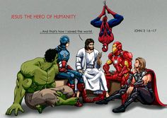 Hero and Jesus. Jesus is hero for human christian , Jesus Art, God Jesus, Jesus Christ, Christian Humor, Christian Life, Funny Christian Quotes, Christian Comics, Jesus Cartoon, My Superhero