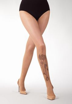 Steampunk Heart Tattoo Sheer Tights