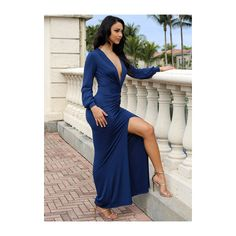 Sexy Plunge Long Sleeve Gown ($30) ❤ liked on Polyvore featuring dresses, gowns, blue dress, long sleeve blue gown, long sleeve dress, long sleeve gowns and blue evening gown