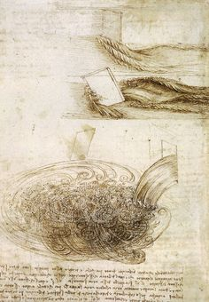 Leonard Da Vinci (Italian, 1452-1519.) Studies of Water passing Obstacles and falling, 1508-1509