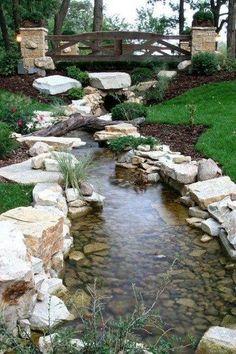 Backyard Ponds, Landscaping Ideas, Garden Landscaping, Water Garden, Yard Ideas, Waterfall, Front Yard Landscaping, Patio Ideas, Courtyard Ideas