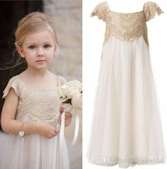 The big girl dresses which match the flowers-2017 cute gold girls dresses short sleeve lace floor length portrait little girl gown custom made is offered in kissbridal and on DHgate.com black dresses for girls along with camo flower girl dresses are on sale, too.