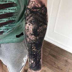 Wolf tattoo by Mark Wosgerau Wolf Sleeve, Wolf Tattoo Sleeve, Tattoo Sleeve Designs, Sleeve Tattoos, Grey Tattoo, Forest Tattoos, Nature Tattoos, Life Tattoos, Shiva Tattoo Design