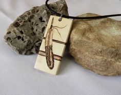 Bald Eagle Feather Necklace Mens Wood Pendant by SepiaTree on Etsy, $29.99  #baldeagle, #eaglefeather, #feather, #necklace, #pendant, #wood, #mens