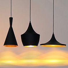 Wohnzimmer Schlafzimmer LED Hängeleuchte Pendelleuchte Lampenschirm Modern Vintage Metall Höhenverstellbar Hängeleuchte 1x E27 max. 60W, Ø 19 cm (außen schwarz innen gold)
