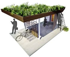Bus shelter with a green roof.