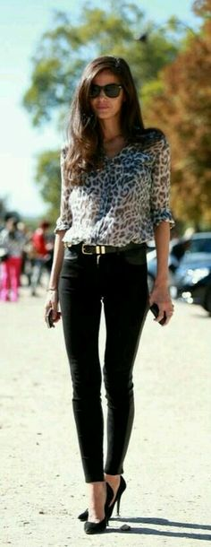 Black pants paired with leopard