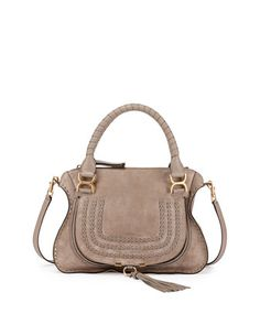 da72c6b420 Chloe suede satchel bag with studded trim. Leather-wrapped top handles with  Marcie buckles