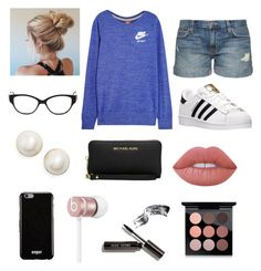"""""""Untitled #26"""" by valeriatrujillog on Polyvore featuring NIKE, Current/Elliott, adidas, Judith Leiber, Kate Spade, Michael Kors, Givenchy, Beats by Dr. Dre, Lime Crime and Bobbi Brown Cosmetics"""