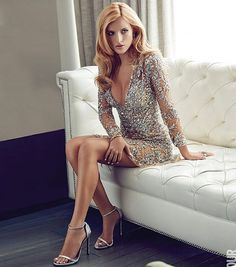 @bellathorne is a real heartbreaker as she gazes seductively at the camera in a shoot for @GlamourMexico, wearing a short sheer fully beaded silver dress from our Fall Winter 2015/2016 Ready-to-Wear collection.  #ZuhairMurad #fw1516 #rtw