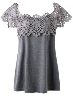 GET $50 NOW | Join RoseGal: Get YOUR $50 NOW!http://www.rosegal.com/plus-size-t-shirts/plus-size-lace-panel-cutwork-1174157.html?seid=9326671rg1174157