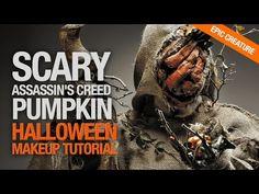 Scary assassins creed pumpkin halloween makeup tutorial - YouTube