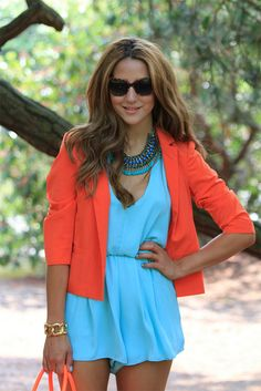 Neon Orange Baby Blue Outfit
