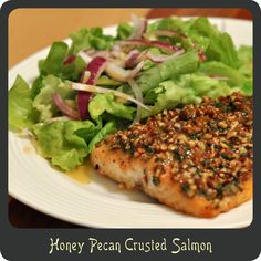 Honey Pecan Crusted Salmon—One of the best ways I have ever prepared salmon! Sweet and crunchy.