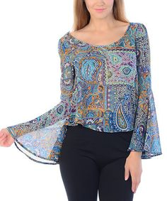 Look what I found on #zulily! Jade & Rust Paisley Bell-Sleeve Top #zulilyfinds