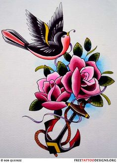 Vintage Sparrow Tattoo Design | ... Tattoos | Gypsy, Anchor, Ship, Pin Up And Sailor Jerry Tattoo Designs