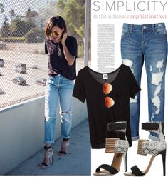 """Blogger style: Black T-shirt & Destructed Skinny Jeans & Heels"" by hamaly on Polyvore"
