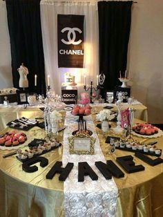 Chanel birthday party dessert table see more party planning ideas at catchmyparty com , chanel party Chanel Party, Chanel Birthday Party, 30th Birthday Parties, Birthday Ideas, Birthday Quotes, Buffet Dessert, Dessert Table Birthday, Birthday Party Desserts, Birthday Cake