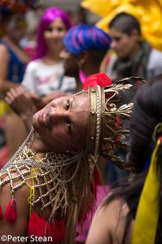 One of the revellers at today's World Pride march in London (7 July 2012)