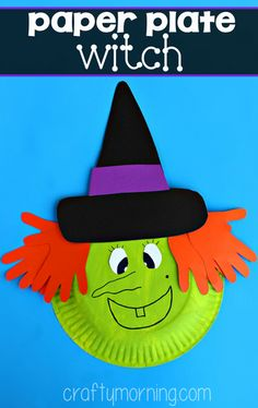 Paper plate witch kids craft that's great for Halloween time! All you need are some paper plates, paint, colored paper, Elmer's glue, scissors, and a black marker. #kidscraft #Halloween