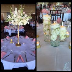 Alternating high low centerpieces. Gorgeous!