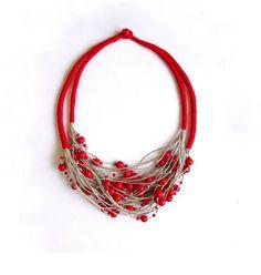 Linen necklace linen jewelry natural linen bib by Feltpoint