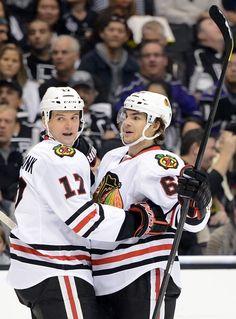 Sheldon Brookbank & Michael Frolik, I miss them Blackhawks Hockey, Hockey Teams, Chicago Blackhawks, Inline Hockey, First Period, Staples Center, Los Angeles Kings, Espn, Nhl