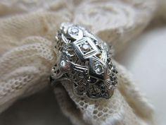 Vintage Deco 20s 30s 18k Diamond Ring Alternative Engagement Ring