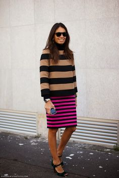 Parisienne: Wear two pieces in the same pattern. Stripes on stripes! Leopard on leopard!