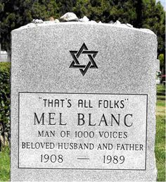 The tombstone of Mel Blanc the voice of Porky Pig from Looney Tunes. Thats all Folks via /r/pics Famous Tombstones, Cemetery Headstones, Old Cemeteries, Graveyards, Cemetery Art, Cemetery Statues, Halloween Tombstones, Hanna Barbera, Tombstone Epitaphs