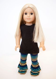 American Girl Doll clothes  black tunic and by EverydayDollwear, $18.00