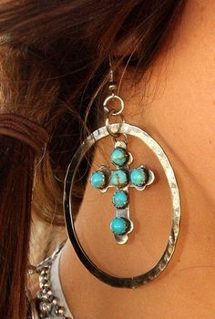 Old Mexico TUrquoise Cross hoops.Gypsy soule jewels at the Carriage! Western Jewelry, Boho Jewelry, Jewelry Box, Silver Jewelry, Jewelry Accessories, Jewelry Making, Jewlery, Rustic Jewelry, Gold Jewellery