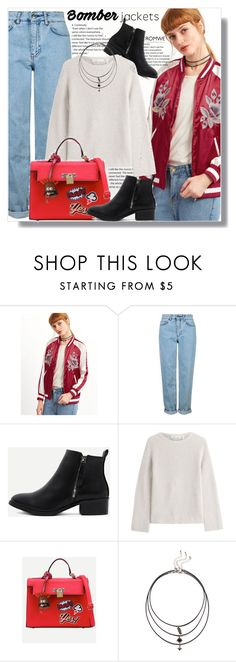 """""""Bomber Jacket"""" by jenny007-281 ❤ liked on Polyvore featuring Topshop and Helmut Lang"""