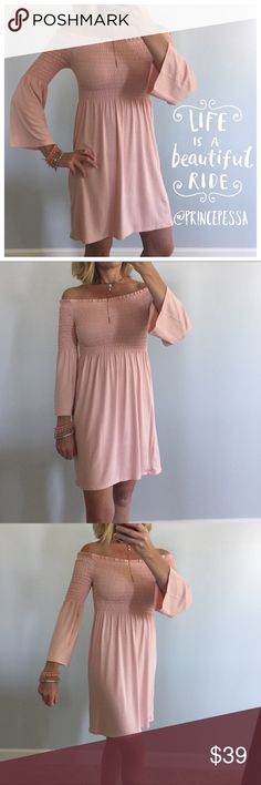 """Light Peach Off the Shoulder Dress Light Peach Off the Shoulder Dress. Fun, flirty and easy to wear💕 Super soft material. Off the shoulder, pull on styling. Long  sleeves. Measurements laying flat... S: 28"""" long, 12.5"""" pit to pit unstretched. M: 29"""" long, 13"""" pit to pit unstretched. L: 29"""" long, 13.5"""" pit to pit unstretched. I am modeling size S. 96 rayon 4 spandex. Boutique item, does not have tag. #BA3 Love Republic Dresses Mini"""