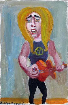 """Piter Metalini"" gouache on canvas, 24x 18 cm., year 1998"