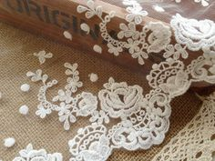 Cotton Tulle Lace Trims Off White Embroidery Lace by lacelindsay