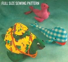 Vintage PDF Sewing Pattern to make A Sit On Ride On Sea Turtle 24 Long & Baby 10, A Whale 18 and Seal 12 long Stuffed Plush Soft Body Toys A Digital Download   The listing is for the digital pattern in PDF format to be sent to the customers email address as an attachment upon completion of payment, This listing is not for the physical item shown in the photos nor for a hard copy of the pattern. Please note: I watermark most of my photographs and pattern instructions with my logo or shop n...
