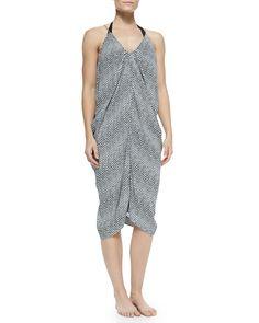 Sleeveless Printed Pivot-Draped Dress