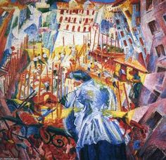 Futurism Art Movement - 'The street enters the house' Umberto Boccioni painting I really like the colours used in this piece. The bight colours really stand out making this piece captivating. Italian Painters, Italian Artist, Futurist Painting, Museum Hannover, Umberto Boccioni, Italian Futurism, Dynamic Painting, Futurism Art, Modern Art Styles