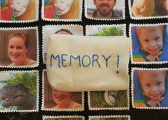 "Christmas gift -- homemade memory game.   Make with personal photos/flags, etc.  and use it to teach kids to ""remember"" to pray for friends and family and the nations!!!"