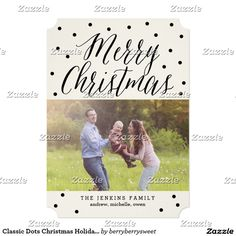 Classic Dots Christmas Holiday Photo Cards