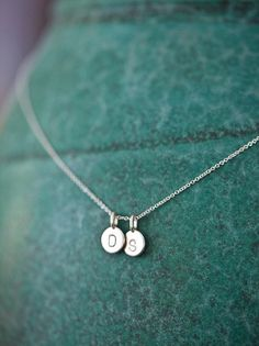 TWO Charms Tiny Initial Necklace in Sterling Silver