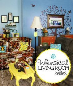 """Now, this is one whimsical living room! It has owls, a dragon, twinkle lights, a fairy door, a troll, a tree on the wall… and that's just """"some"""" of what you'll find here. The best part is that it was done on a budget using a lot of what was already there.  Lots of ideas and instructions within!"""
