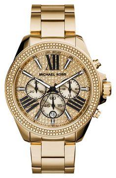 MICHAEL Michael Kors Michael Kors 'Wren' Pavé Dial Chronograph Bracelet Watch, 42mm available at #Nordstrom @emill3r duuuuuude !