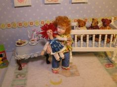 OOAK Miniature Dollhouse Girl Posable *Tabitha & Doll* By Carol McBride
