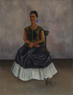 Frida Kahlo, Itzcuintli Dog with Me (Perro Itzcuintli conmigo), c. 1938. Oil on canvas. Overall: 27 15/16 x 20 15/32 in. (71 x 52 cm) Private Collection © 2017 Banco de México Diego Rivera Frida Kahlo Museums Trust, Mexico, D.F. / Artists Rights Society (ARS), New York.