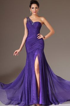 2014 Style Sheath/Column One Shoulder Ruffles Prom Dresses/Evening Dresses #GF828  Allison?