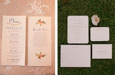 Adorable invitations and menu by Paper 'N More. Photos by Candi Coffman Photography. #wedding #oklahomawedding #weddinginvitations