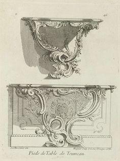 Septième Livre de l'OEuvre de J.A. Meissonnier: vijfde blad:Pieds de Table de Trumeau, Juste Aurèle Meissonnier, Gabriel Huquier, Gabriel Huquier, 1747 - 1750